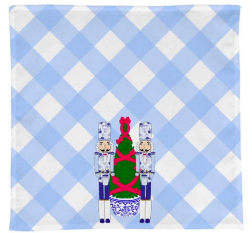 chinoiserie gingham nutcracker tea towel