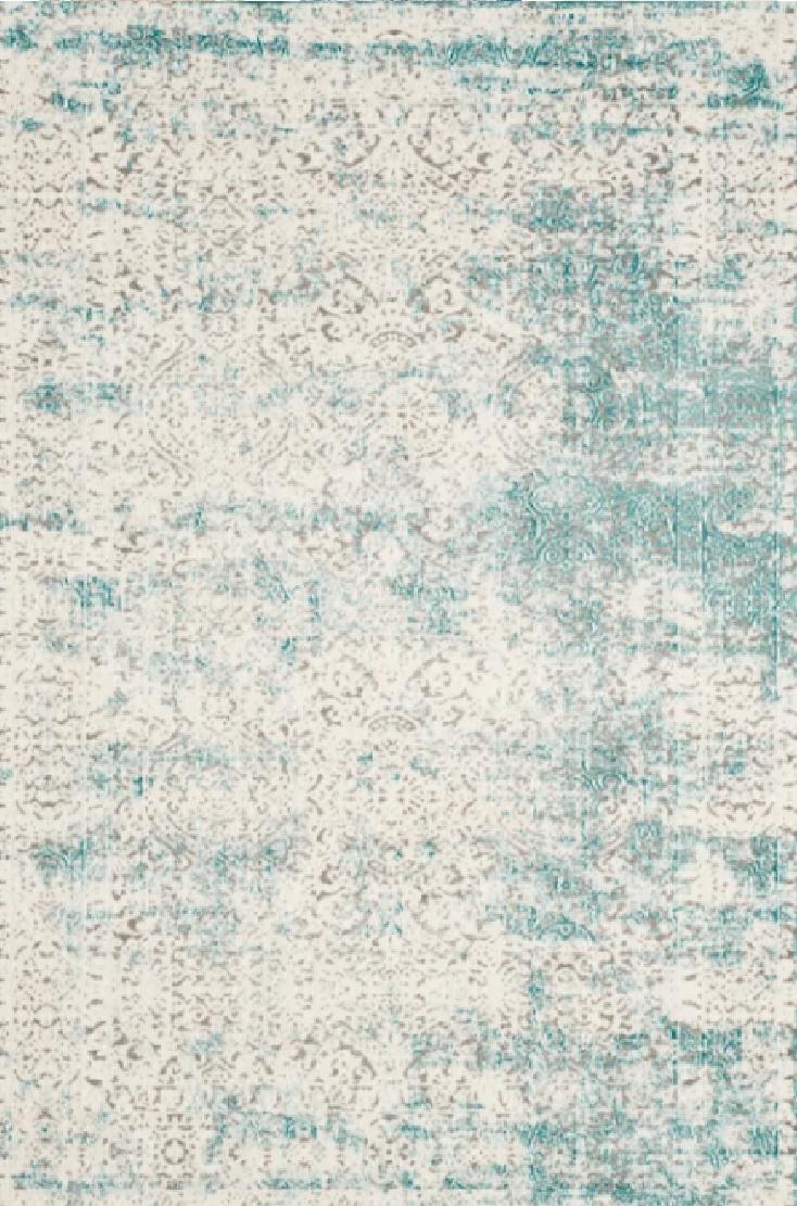 vintage distressed teal rug