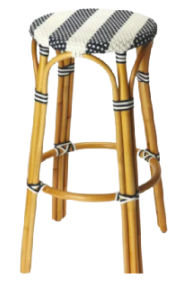 blue and white bistro rattan bar stool