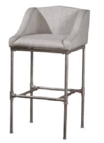 gray upholstered bar stool