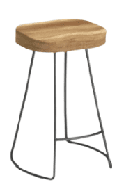 wood and metal backless counter stool