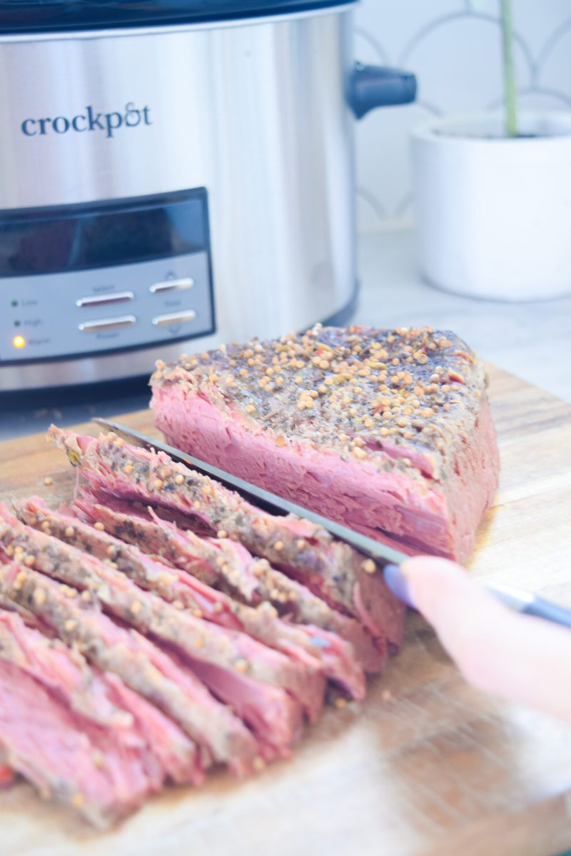 How do I cook corned beef in a slow cooker without vegetables