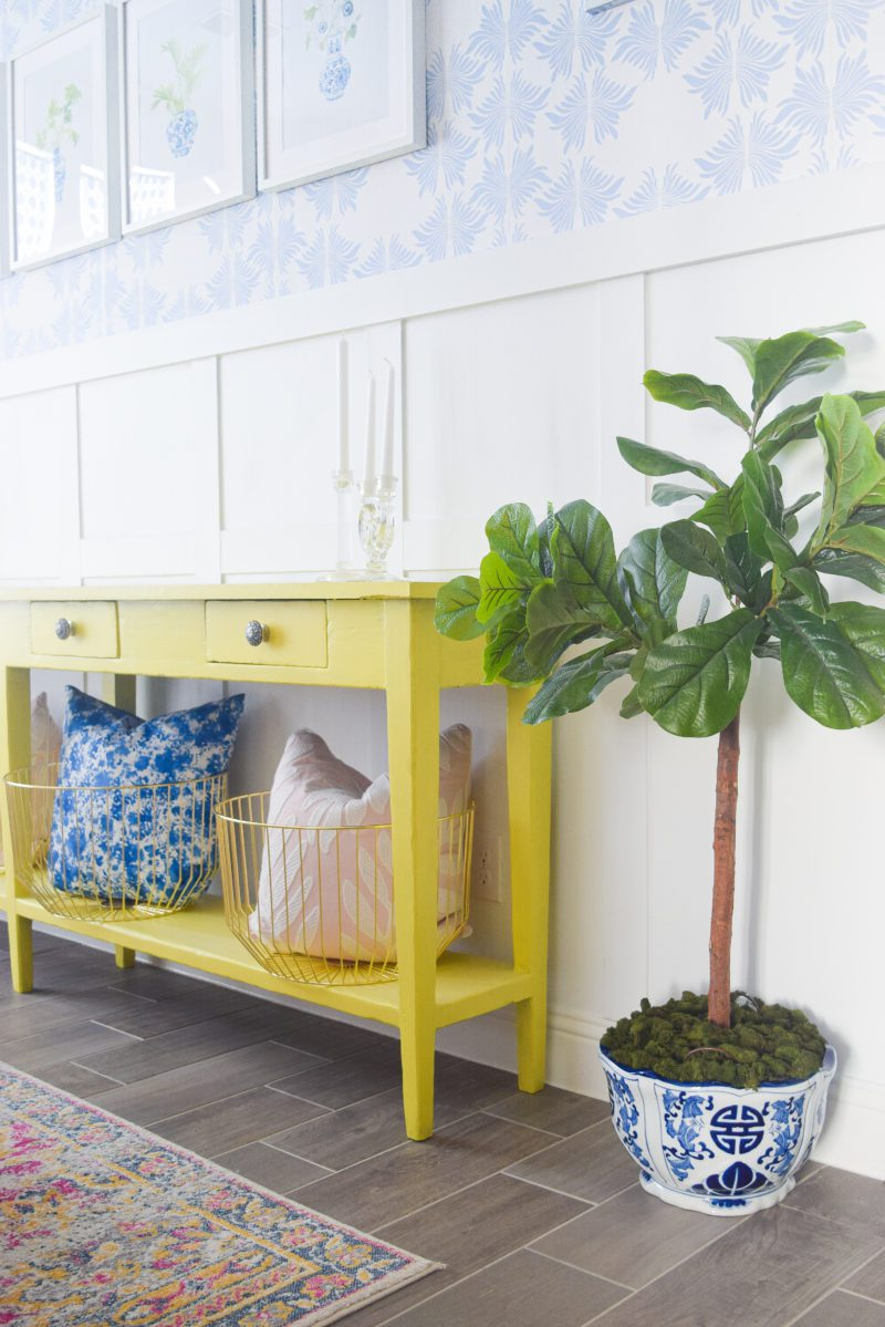 green yellow chartreuse painted buffet table in dining room
