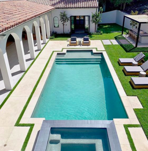 rectangle pool design with turf and concrete decking