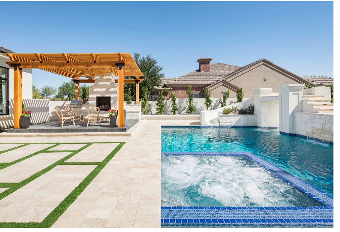 rectangle pool with turf and concrete decking