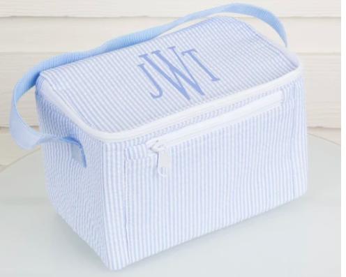 monogram seesucker lunchbox in light blue