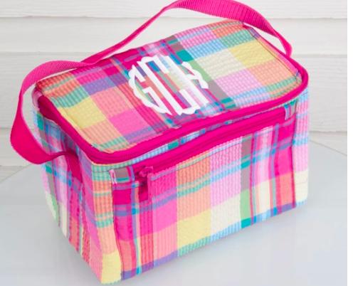 monogram seesucker lunchbox in pink plaid