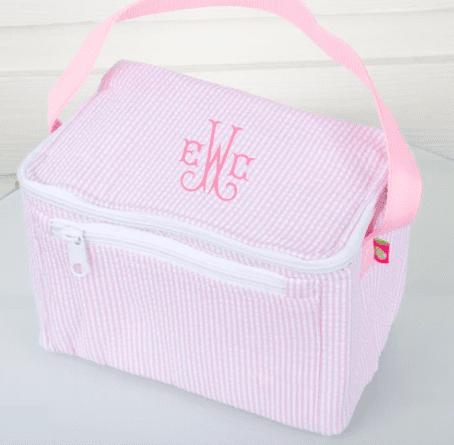 monogram seesucker lunchbox in light pink