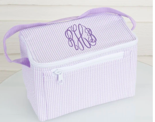 monogram seesucker lunchbox in light purple