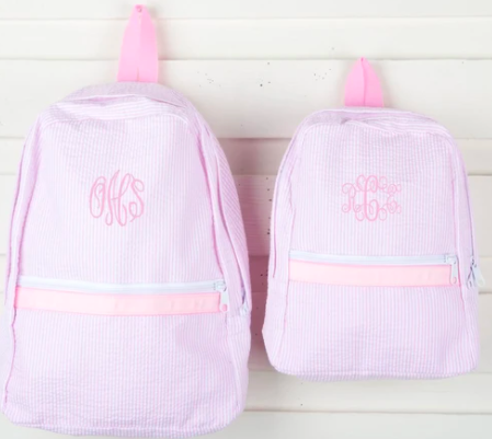 monogram seesucker backpack in light pink