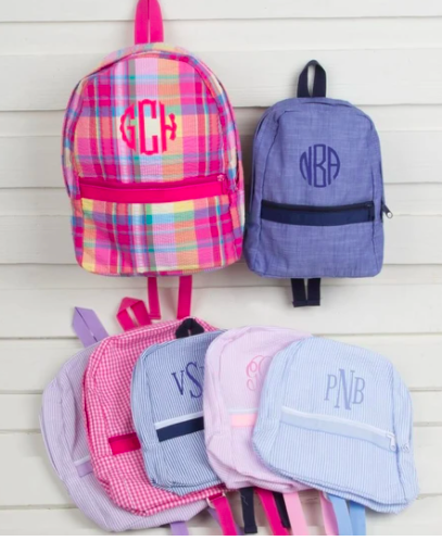 monogram backpacks for kids
