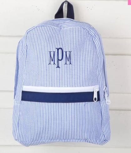 monogram seesucker backpack in navy blue