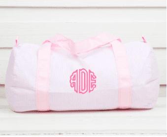 Girls Monogram Dance Bag in Pink Seesucker