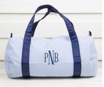 Monogram Sports Bag in Navy Blue Seesucker