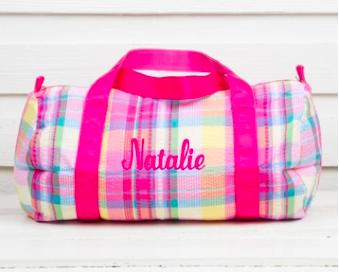 Girls Monogram Dance Bag in Pink Plaid