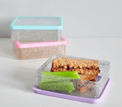 Spencer Glitter Sandwich Food Storage for Kids Lunch Boxes