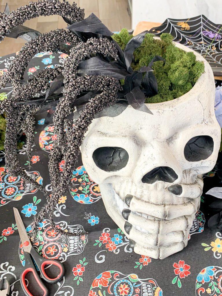 Skull floral arrangement
